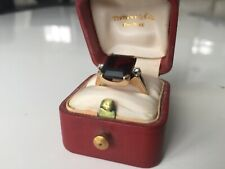 Tiffany & Co. Authentic 14k Gold Palladium Garnet & Diamond Ring Size 6.5 w/box