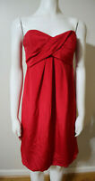 WOMEN'S RED STRAPLESS COCKTAIL DRESS - NICOLE MILLER - SIZE 6 - SILK