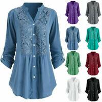 Long V Neck Shirt Women Tunic S-5XL Button Blouse Sleeve Size Tops Lace Ladies