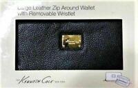 Kenneth Cole New York Leather Zip Around Wallet & Wristlet set - black - NIB