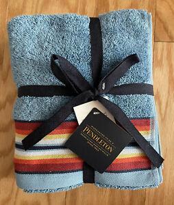 "Pendleton Towel Set of 2 Hand Towels Saltillo Stripe Gray - 16"" x 28"" - New"