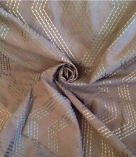 10 Metres Faux Silk Embroidered Zig Zag,Taupe Eau De Nil Curtain Fabric Material