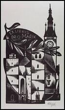 Otakar Marik Fils X2 Exlibris Bookplate Architecture Clock Uhr s186