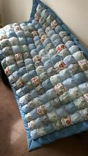 Handmade patchwork bubble biscuit quilt to fit single bed in blues - FREE P&P