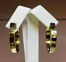 14k oro amarillo macizo 36mm pendiente del aro Tipo Cabeza De Uñas elaborado en Post 10 gramos