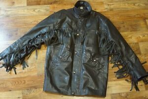 Vintage PACIFIC Real Leather Padded Fringed Western Jacket Brown Size M Medium