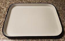 New ListingVintage White Enamel Tray 3/4x8 1/2x11 inch Rectangle w/Black Rim