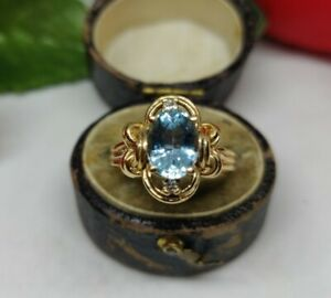 14ct Gold Topaz and Diamond Cluster Ring. Gold cluster ring. Topaz statement