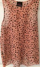 Pink Punch Girls Peach Tank W/ Black Polka Dots Size 10/12 EUC Layered
