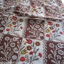 100 X 116 Vintage Cotton Curtain Fabric 1940s Brown Fern Barkcloth era Novelty