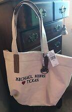 NEW Michael Kors City Tote Canvas Love TEXAS Natural FABULOUS! Beach Bag