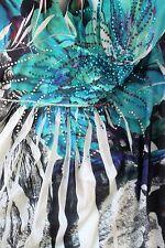 Love-T Large Blue Halter Island Beach Dress Floral Flower Rhinestone L Lg