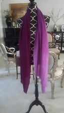 """Large Wool Shawl / Scarf - Purple Ombre - Fringe at both ends; 80"""" x 26.75"""" NEW"""