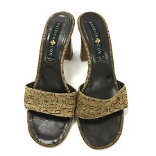 Patrick Cox Heels Size UK 4 Gold Single Strap Mule Leather Italy Occasion 272202