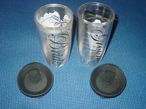 SET OF 2 TERVIS WEDDING TRAVEL BRIDE & GROOM 16 OZ INSULATED CUP W/LID TUMBLER