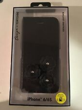 iPhone 6/6S Genuine Black Leather Flower Fold Case Design By TORTOISE Sealed