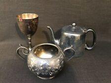 Antique Pewter A Fattorini Tea Pot, R Pringle EPNS Goblet, EPBM F Howard Pot