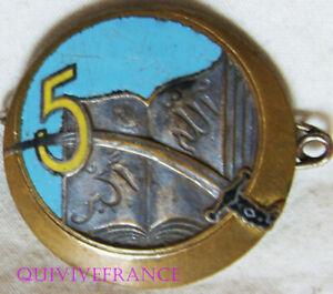 IN18307 - INSIGNE 5° Régiment de Tirailleurs Algériens, 5 jaune orangé, dos guil