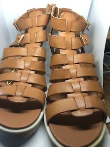 Womens 8.5 Modern Rush Tan Leather Sandals Rubber Soles New Gladiator Platform