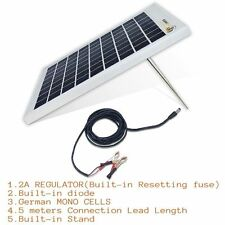 10W 12V MONO SOLAR PANEL REGULATOR TRICKLE BATTERY CHARGER RV AGM Complete Kit