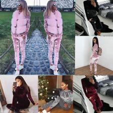 Ladies Crushed Velvet Lounge Suit Sweatshirt Pant Women Lounge Wear Tracksuit UK