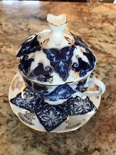Covered China Tea Cup & Saucer Cobalt Blue/White/Gold Trim Nantucket Home - NEW