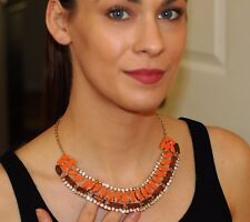 Kate Spade collar Wood Centro Tile Statement Necklace Earring set orange crystal