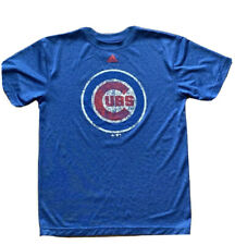 Chicago Cubs Baseball Blue Adidas T-Shirt Youth L 14/16