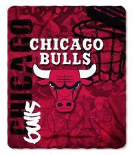 "NBA Chicago Bulls Hard Knocks Printed Fleece Throw, Red, 50 x 60"""