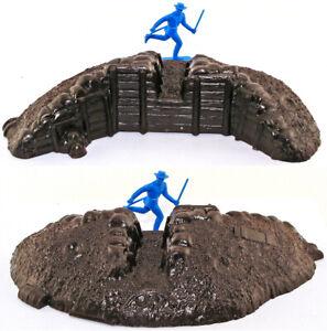 Marx Recast 54mm Earthen Redoubt - ONE piece in unpainted plastic - no figures