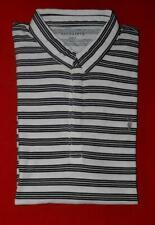 All Saints Short Sleeve White Black Grey Striped Pattern Polo Shirt M Medium
