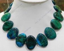 "Large 23x32mm Flat Block-shaped AZURITE Gems Phoenix Stone Beads Necklace 17""sf"
