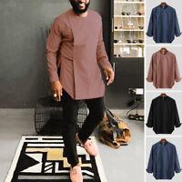 Men's Irregular Hem Casual Shirt Long Sleeve Vintage Tops Tee Blouse Plus Size
