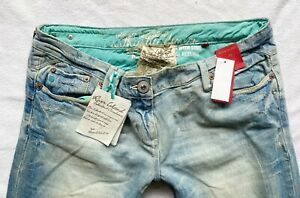 River Island Jeans 14 S relaxed bootleg boyfit distress rip knee 34/31 NEW