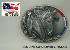 USA Flag Men's Women's Horse Western Belt Buckle Silver Rodeo Cowgirl Swarovski