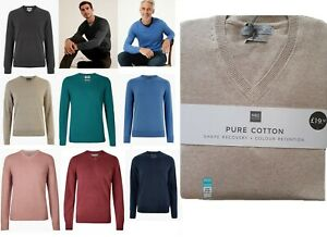 Mens M&S Jumper V Neck PURE COTTON Knitted Sweater Pullover Top Long Sleeve Size