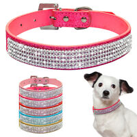 Bling Rhinestone PU Leather Cat Dog Collars Cute for Small Dogs Chihuahua XS-L