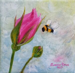 original oil painting bee tulip flower paintings spring small canvas signed art
