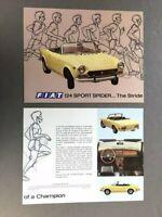 1972 Fiat Sport Spider 124 Original 1-page Car Brochure Collectors Card