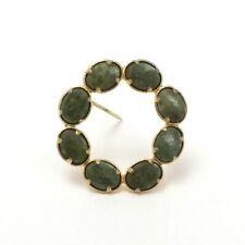 12k Gold Filled Aventurine Jade Oval Wreathe Brooch Pin