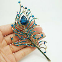 Gorgeous Peacock Feather Gold-tone Blue Rhinestone Crystal Brooch Pin Gift