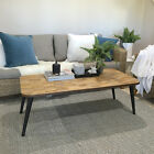 Large Timber Coffee Table/Parquetry Wood Top/Iron Legs/Industrial/Rustic Country