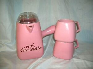 Bonjour Williams Sonoma Hot Chocolate Pot Pitcher with Lid & 2 Matching Mugs