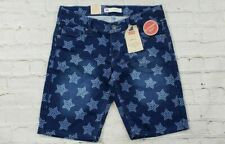 NEW Levis Bermuda Blue Star Print Denim Jean Shorts Girl's Size 12 Reg