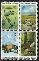 Scott# 1921-24 - 1981 Commemoratives - 18 cents Wildlife Habitats Block