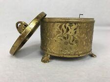 Rare Antique Etched Brass Mirror Music Box , Makeup Powder Dish , Floral motif