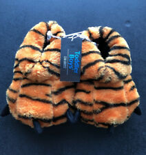 Swiggles Toddler Boys NWT Sz 5-6 Tiger Paw Slippers, Orange&Black Striped Plushy