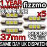 5x ERROR FREE CANBUS 3 SMD LED 37mm 239 272 C5W XENON WHITE NUMBER PLATE BULB UK