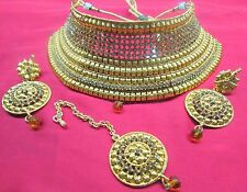 Gold Plated Jodha's Kundan Zerconic Bollywood Necklace Set Earring Tika Jewel B