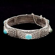 Antique Vintage Deco Sterling Silver Chinese Filigree GLOBE Turquoise Bracelet!